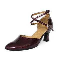 Women's Patent Leather Heels Pumps Modern With Ankle Strap Dance Shoes