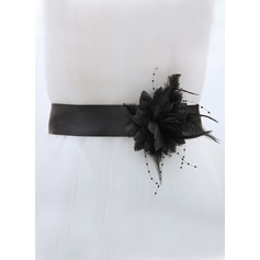 Simple Satin Sash With Feather