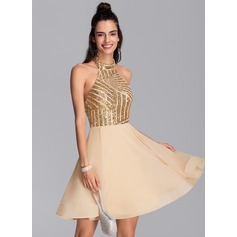A-Line Halter Short/Mini Chiffon Homecoming Dress