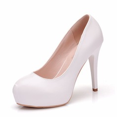 Women's Leatherette Spool Heel Closed Toe Pumps Sandals