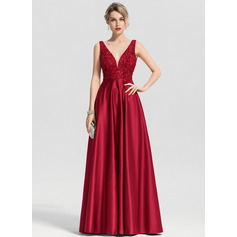 A-Line/Princess V-neck Floor-Length Satin Prom Dresses With Beading Sequins (018163270)