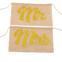 """Mr. & Mrs."" Linen Chair cover"