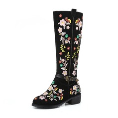 Women's Real Leather Chunky Heel Boots Knee High Boots With Flower shoes (088176634)