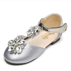 Jentas Round Toe Lukket Tå Leather flat Heel Flate sko Flower Girl Shoes med Velcro Crystal
