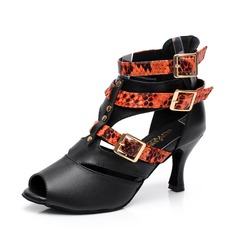 Women's Real Leather Heels Boots Latin With Animal Print Buckle Dance Shoes