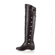 Women's Leatherette Wedge Heel Closed Toe Boots Over The Knee Boots With Buckle shoes