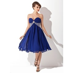 Empire Sweetheart Knee-Length Chiffon Homecoming Dress With Ruffle Beading Sequins