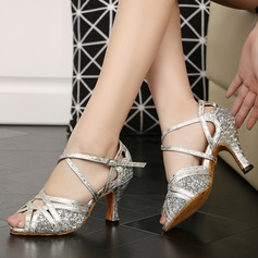 Women's Sparkling Glitter Heels Sandals Latin With Ankle Strap Dance Shoes (274207943)