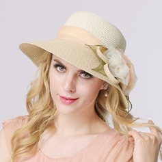 Ladies' Romantic Organza/Raffia Straw With Silk Flower Straw Hat