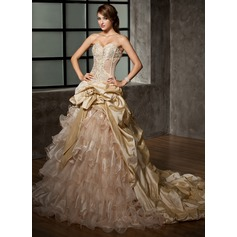 Ball-Gown Sweetheart Cathedral Train Taffeta Organza Wedding Dress With Beading Flower(s) Cascading Ruffles