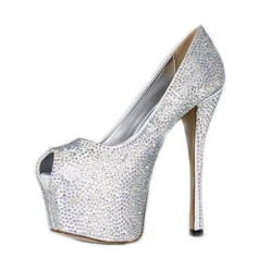 Satin Stiletto Heel Sandals Platform Peep Toe With Rhinestone shoes