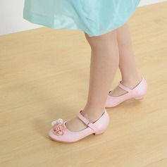 Girl's Closed Toe Leatherette Low Heel Flats Flower Girl Shoes With Buckle Imitation Pearl Satin Flower