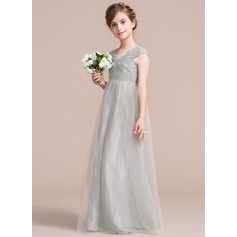 A-Line/Princess V-neck Floor-Length Tulle Junior Bridesmaid Dress With Ruffle