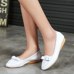 Women's Microfiber Leather Flat Heel Flats Closed Toe With Bowknot shoes (086134597)