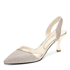 Women's Sparkling Glitter Spool Heel Closed Toe Slingbacks