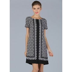 Polyester/Linen With Print Knee Length Dress (199086962)