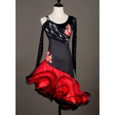 Women's Dancewear Spandex Organza Latin Dance Dresses (115127331)