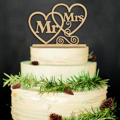 Heart/Mr. & Mrs. Wood Cake Topper (Sold in a single piece)