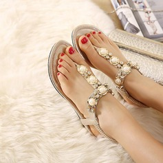 Women's Leatherette Flat Heel Sandals Flats Peep Toe With Rhinestone Elastic Band shoes (087122490)