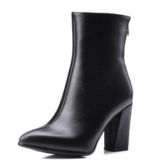Women's Leatherette Sparkling Glitter Chunky Heel Pumps Closed Toe Boots Ankle Boots With Zipper shoes