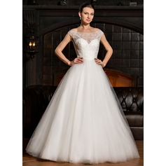 Ball-Gown Off-the-Shoulder Floor-Length Tulle Lace Wedding Dress With Beading