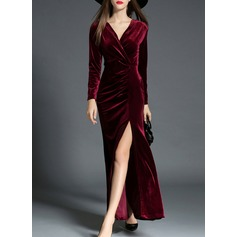Velvet With Stitching/Crumple Maxi Dress (199136285)