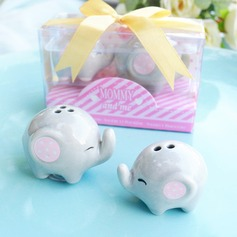 LITTLE PEANUT CERAMIC ELEPHANT SALT & PEPPER SHAKERS