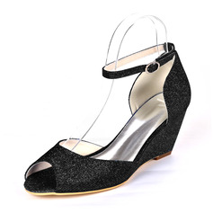 Women's Sparkling Glitter Wedge Heel Peep Toe Wedges With Buckle Imitation Pearl