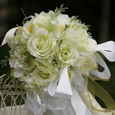 Shiny Round Satin Bridal Bouquets