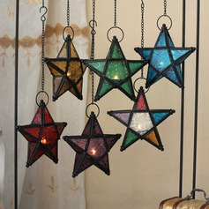 Star design/Colorful Glasses Vintage Metal Candle Holder
