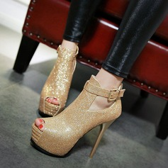 Women's Leatherette Stiletto Heel Sandals With Sparkling Glitter Buckle shoes (085115629)