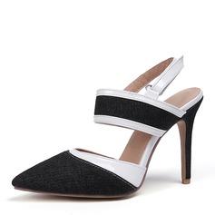 Women's Leatherette Denim Stiletto Heel Sandals Pumps Closed Toe Slingbacks shoes