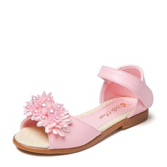 Girl's Peep Toe Microfiber Leather Flat Heel Sandals Flats