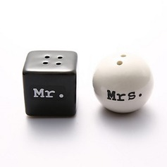 """Mr. & Mrs."" Round Ceramic Salt & Pepper Shakers With Ribbons"
