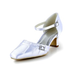 Women's Satin Kitten Heel Closed Toe Pumps With Buckle Ruched