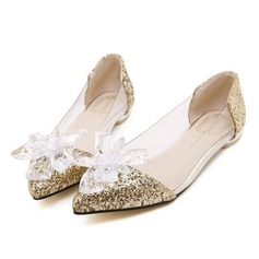 Women's Plastics Flat Heel Flats Pumps With Sparkling Glitter Crystal