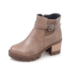 Women's Leatherette Chunky Heel Closed Toe Martin Boots With Buckle shoes