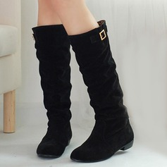 Women's Suede Low Heel Platform Knee High Boots With Buckle shoes