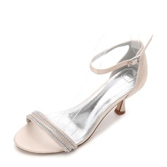 Women's Silk Like Satin Stiletto Heel Peep Toe Pumps Sandals With Buckle Rhinestone