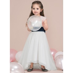 A-Line/Princess Asymmetrical Flower Girl Dress - Chiffon/Satin/Tulle Sleeveless Scoop Neck With Lace/Bow(s)