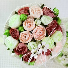 Colorful Round Satin Bridal Bouquets