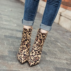 Women's Suede Stiletto Heel Boots Mid-Calf Boots With Zipper shoes