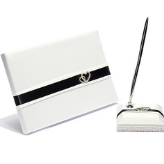 Double Hearts Rhinestones/Sash Guestbook & Pen Set