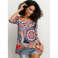 3/4 Sleeves Polyester Round Neck Blouses (1003223727)