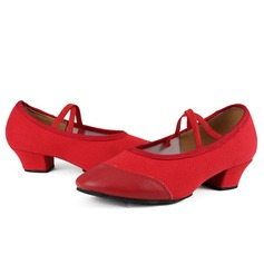 Women's Leatherette Fabric Pumps Practice With Ankle Strap Dance Shoes