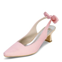 Women's Satin Chunky Heel Closed Toe Pumps Slingbacks With Bowknot
