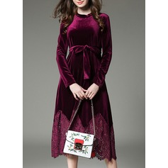 Velvet With Lace/Stitching/Hollow/Crumple Midi Dress (199133963)