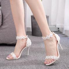 Kids' Leatherette Stiletto Heel Peep Toe Platform Sandals With Rhinestone Flower