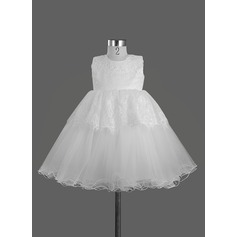 A-Line/Princess Tea-length Flower Girl Dress - Satin Sleeveless Scoop Neck With Lace/Bow(s)