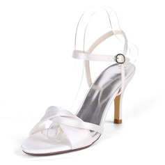 Women's Satin Stiletto Heel Sandals Slingbacks With Buckle